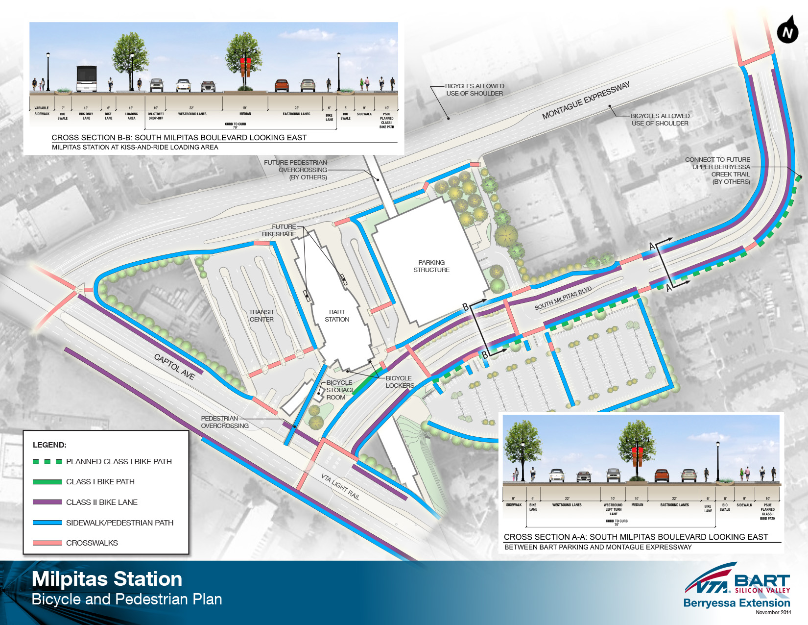 Milpitas BART station pedestrian and bike access diagram