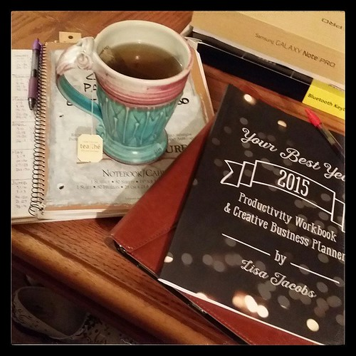 "My super-snazzy planner (yeah- a spiral notebook)... my planner for next year as I plot out my marketing strategy for 2015... my new tablet that I shall love and squeeze and call ""George""... my favorite productivity workbook ... and a beautiful mug that I"