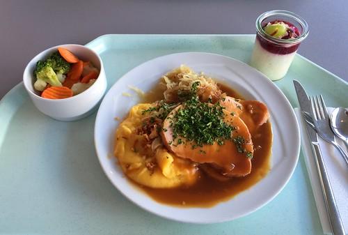 Kasseler mit Sauerkraut & Kürbis-Kartoffelpüree