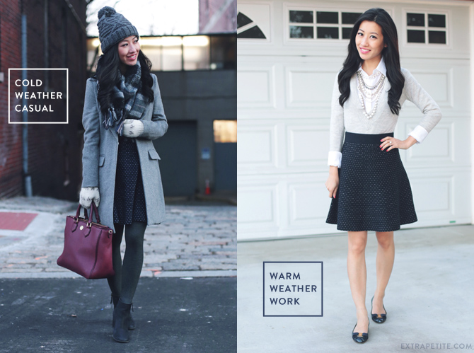 A line skirt outfit styled two ways