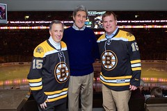 Canadian Foreign Minister John Baird, left, and Mexican Foreign Secretary José Antonio Meade, right, model Boston Bruins jerseys given to them by U.S. Secretary of State John Kerry in TD Garden in Boston, Massachusetts, as they watched the Bruins-Los Angeles Kings game following a North American Ministerial meeting involving the three in the Secretary's hometown on January 31, 2015. [State Department photo/ Public Domain]