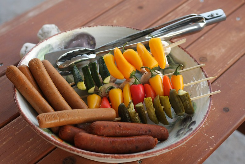 grilling out with some soy-free veggie dogs and veggies