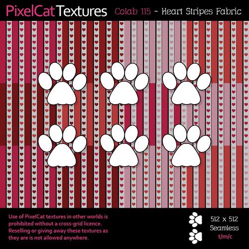 PixelCat Textures - Colab 115 - Heart Stripes Fabric