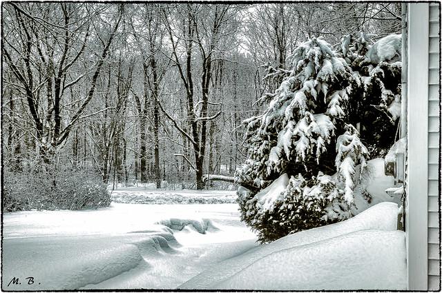 Winter Scene in Meriden, CT USA