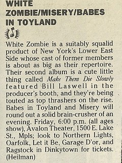 05/26/89 White Zombie/ Misery/ Babes In Toyland @ Avalon Theater, Minneapolis, MN (News Bit)
