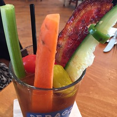 I met friends yesterday for brunch and ordered the Bloody Mary kicked up style! Candied bacon, cucumber, carrot, celery, tomato, radish, jalapeño :grin: