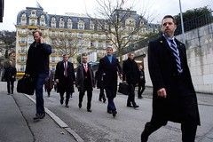 U.S. Secretary of State John Kerry walks through Montreux, Switzerland, on March 2, 2015, en route to resume negotiations with Iranian Foreign Minister Javad Zarif about the future of his country's nuclear program. [State Department photo/ Public Domain]