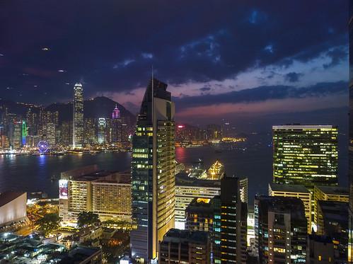city light skyline night evening skyscrapers