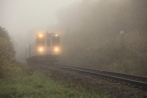 霧を走る列車