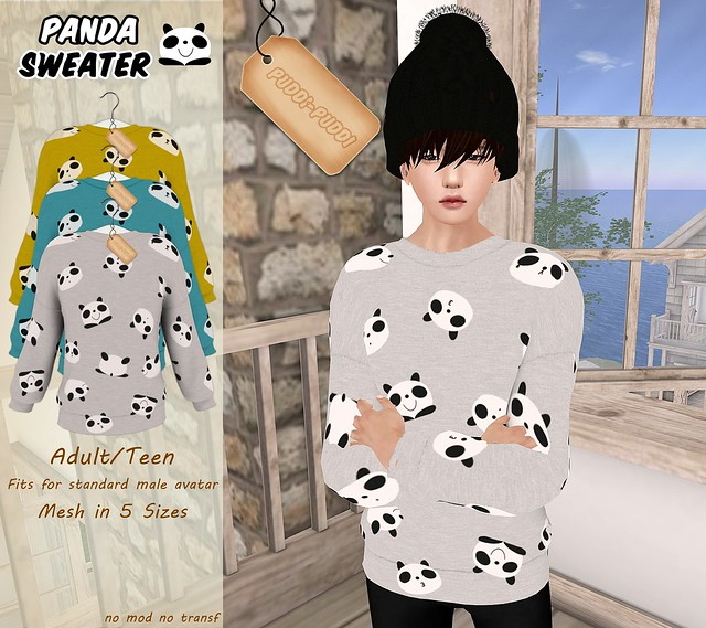 ::Puddi-Puddi:: Adult/Teen Male Panda Sweater