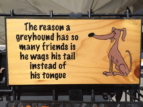 The reason a greyhound has so many friends is he wags his tail instead of his tongue.