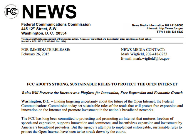 FCC EUA resuelve por la Neutralidad de Internet