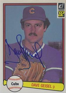 1982 Donruss - Dave Geisel #633 (Pitcher) - Autographed Baseball Card (Chicago Cubs)
