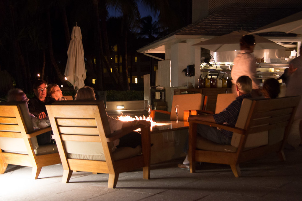 Sitting around the firepit at night at Casa Marina Key West