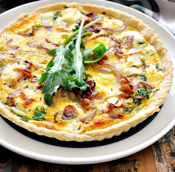 Goat Cheese, Arugula (Rocket) & Caramelised Onion Quiche
