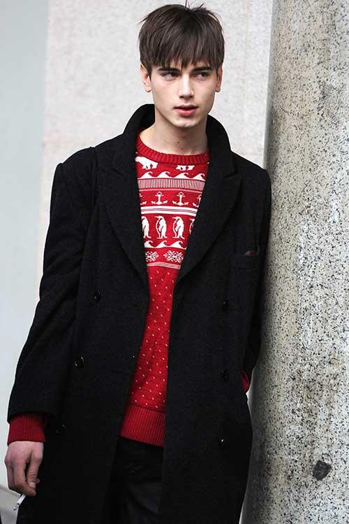 黒ダブルブレストチェスターコート×赤ルディックセーター