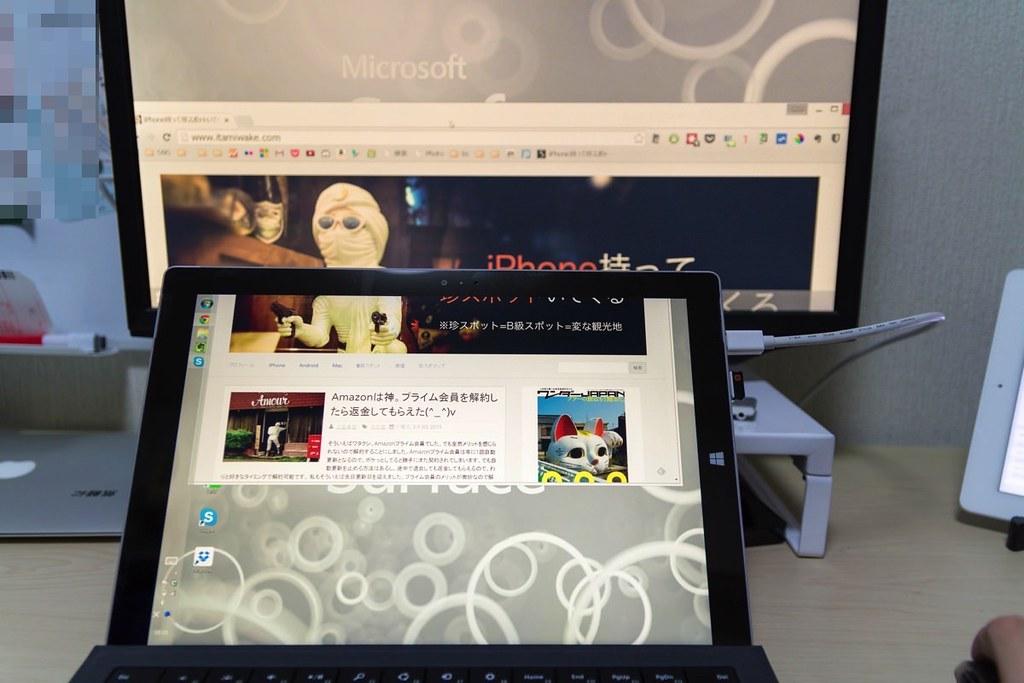 Surface_Pro3とモニターを接続した