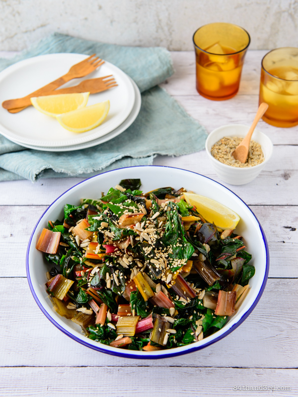 Garlic Rainbow Chard & Chipotle Spiced Seeds