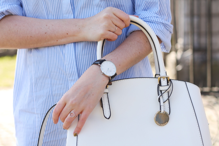 daniel wellington watch, white handbag