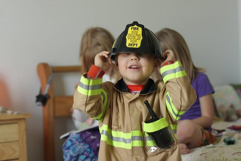Firefighter photobomb