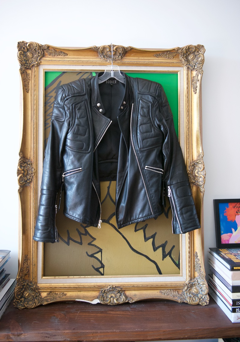 Womens black leather motor jacket