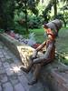Pipe-smoking wooden man