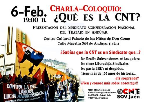 "#ANDÚJAR Charla-coloquio: ""¿Qué es la CNT?"""