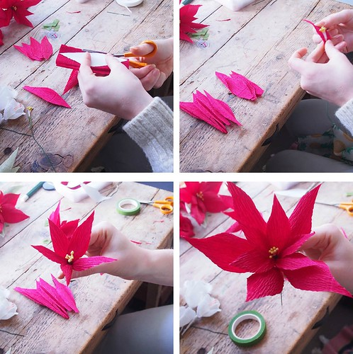 Crepe paper poinsettia tutorial
