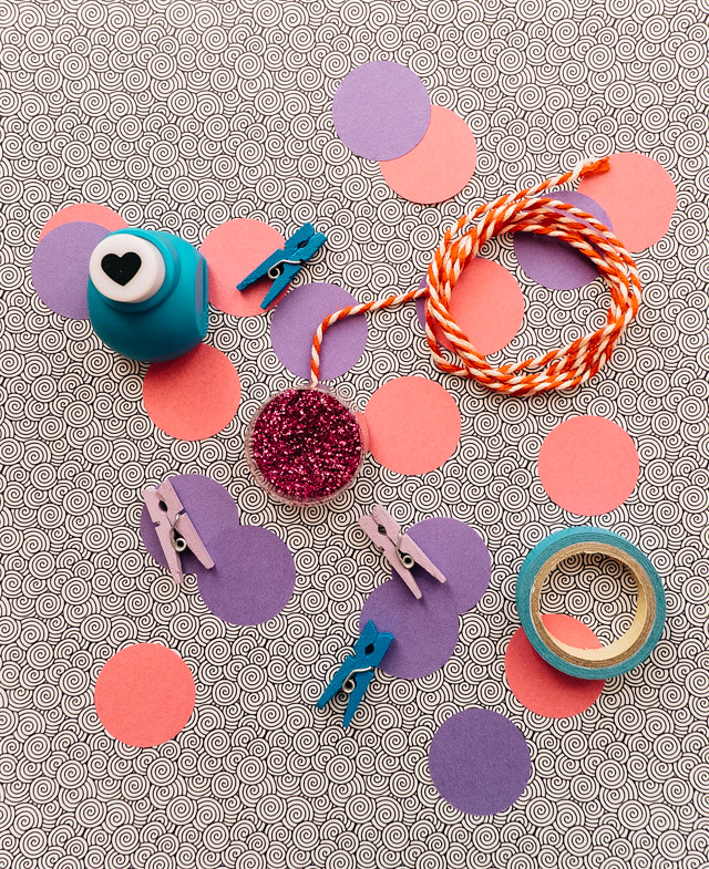 pink, purple and blue craft supplies