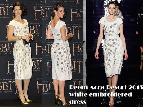 Evangeline Lilly in Reem Acra Resort 2015 cream embroidered dress