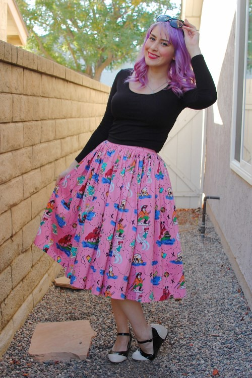 Pinup Girl Clothing Jenny Skirt in Neverland Print 035
