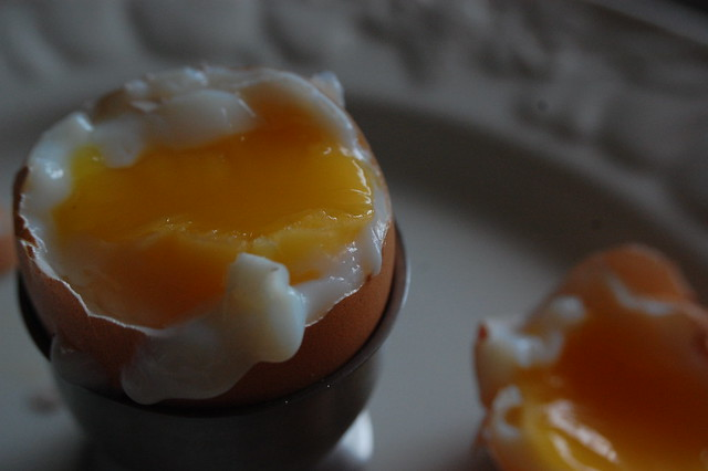Soft boiled egg, cracked open
