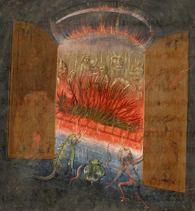 Simon Marmion - The Visions of the Knight Tondal, 1470 (The Gates of Hell and Lucifer) detail