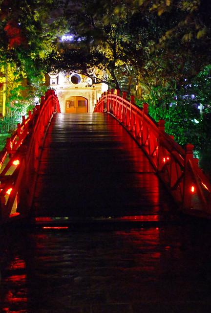 Hanoi's Red Bridge at Night