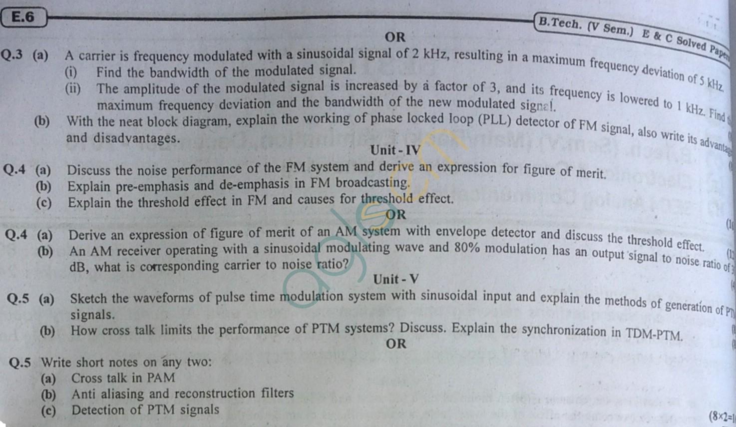 RTU: Question Papers 2013 - 5 Semester - EC - 5E3104