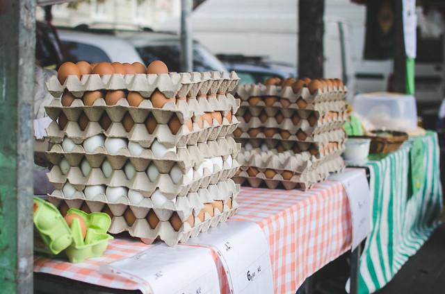 Fresh flats of eggs on sale at the Náměstí Jiřího z Poděbrad, or Jiřák, Prague Farmer's Market.
