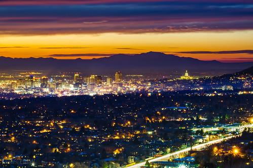 longexposure sunset mountains skyline night clouds utah twilight wasatch downtown dusk capitol saltlakecity jamesudall