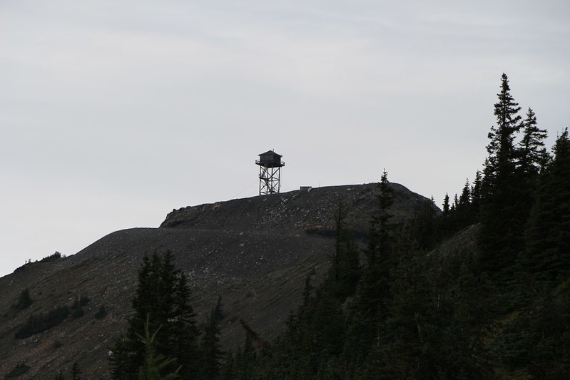 Slate Peak Fire Tower (elev 7440 ft). It's amazing what bulldozers can do to a mountain when they try.