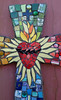 Sacred Heart Mosaic Art Cross Custom Order