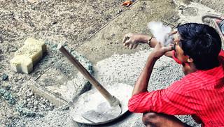 A Labour Smoking Beedi