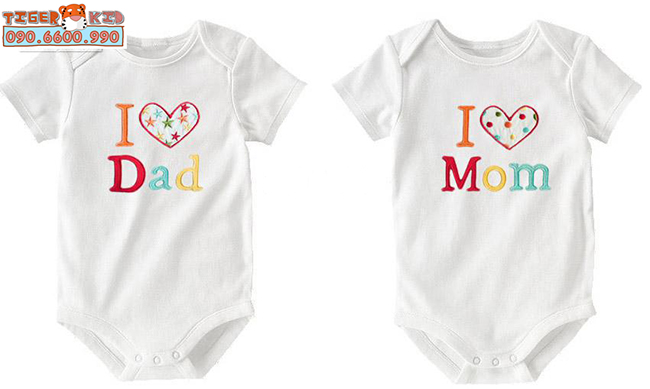 M04N Set 2 bodysuit ngắn tay Mom Dad
