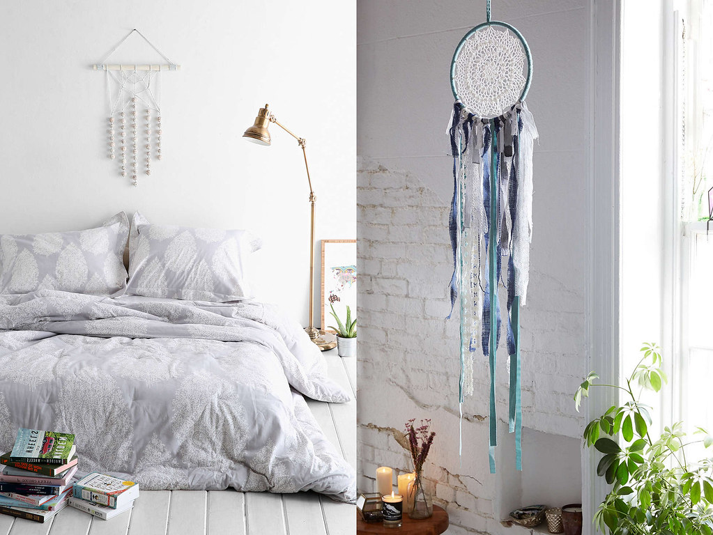 pale purple bedding and dream catcher from urban outfitters - boho style