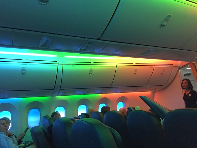 Rainbow lights in the Boeing 787 business cabin