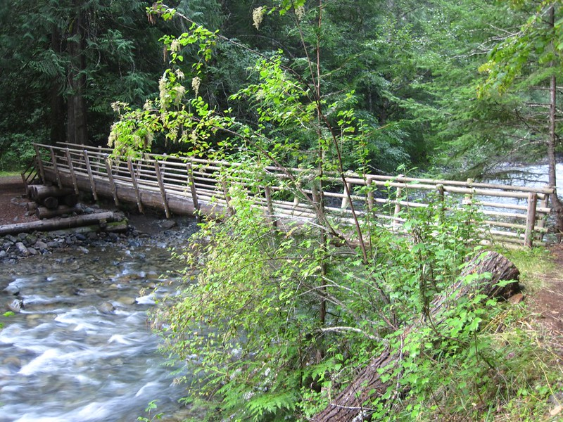 Huge log bridge over Canyon Creek on the Jackita Ridge Trail near the trailhead