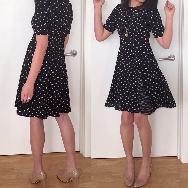 I'm loving this #cute @anntaylor mini daisy flare #dress (wearing size 00P). It's very slimming and #feminine the way it skims your figure. It's also a super fun dress to twirl in. 😁👯 Review #ontheblog a few posts back. #linkinprofile @liketo