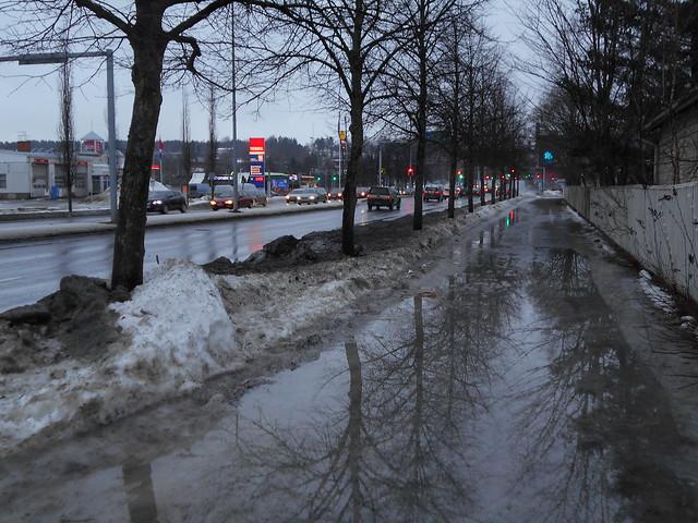 Poikkeuksellisen aikaisen kevään ja sulamisen erikoisilmiöitä: tulvavesi Hämeenlinnassa 20.2.2015