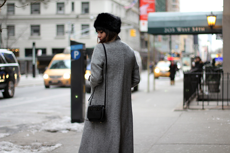 NYFW AW15 Zara Coat, Nasty Gal Forte Dress, Topshop fur hat