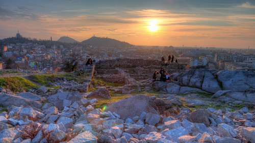 park sunset view bulgaria oldcity plovdiv