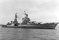 USS Indianapolis (CA 35) is shown off the Mare Island Navy Yard, in Northern California, July 10, 1945, after her final overhaul and repair of combat damage and just 20 days before she was sunk. (U.S. Navy photo)