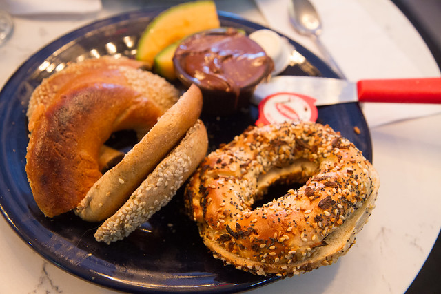 All dressed bagel with Nutella, St-Viateur, Montreal